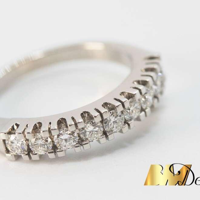 pierścionek obrączka z diamentami białe złoto szeregowka