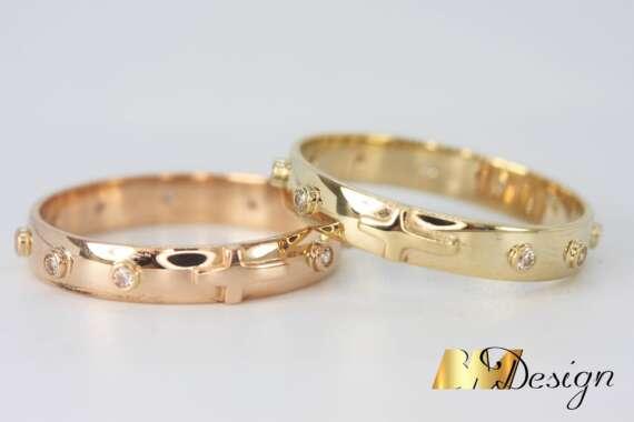 różaniec dziesiątka na palec z żółtego złora z różowegio złota z cyrkoniami