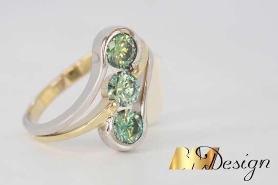 topazy tęczowe pierścionek z 3 topazami złoto biżuteria na zamówienie